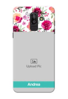 Samsung Galaxy J8 watercolour floral with retro lines pattern Design