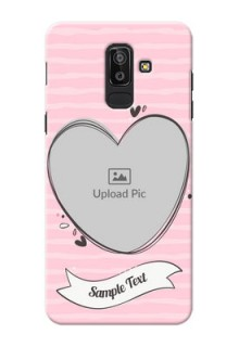 Samsung Galaxy J8 seamless stripes with vintage heart shape Design