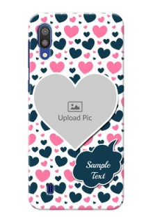 Samsung Galaxy M10 Mobile Covers Online: Pink & Blue Heart Design