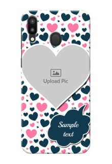 Samsung Galaxy M20 Mobile Covers Online: Pink & Blue Heart Design