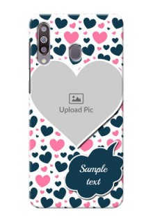 Galaxy M30Mobile Covers Online: Pink & Blue Heart Design