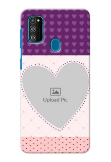 Galaxy M30s Mobile Back Covers: Violet Love Dots Design