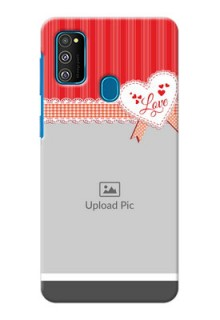 Galaxy M30s phone cases online: Red Love Pattern Design