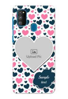 Galaxy M30s Mobile Covers Online: Pink & Blue Heart Design