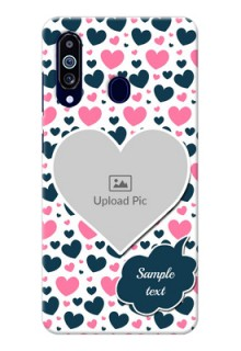 Galaxy M40 Mobile Covers Online: Pink & Blue Heart Design