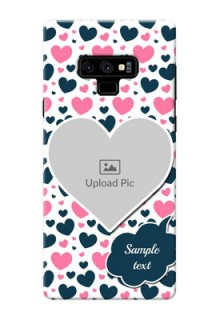 Samsung Galaxy Note 9 Mobile Covers Online: Pink & Blue Heart Design