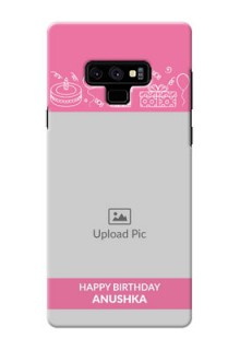 Samsung Galaxy Note 9 Custom Mobile Cover with Birthday Line Art Design