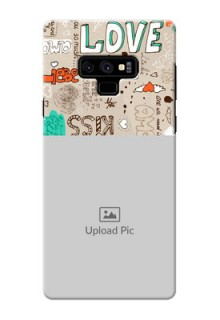 Samsung Galaxy Note 9 Personalised mobile covers: Love Doodle Pattern