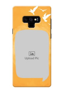 Samsung Galaxy Note 9 Phone Covers: Water Color Design with Bird Icons