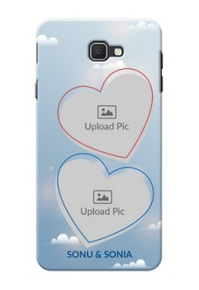 Samsung Galaxy On7 Prime couple heart frames with sky backdrop Design