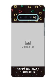 Samsung Galaxy S10 Plus custom mobile cases with confetti birthday design
