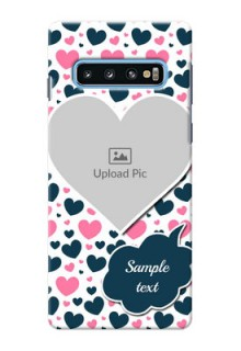 Samsung Galaxy S10 Mobile Covers Online: Pink & Blue Heart Design