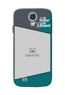 Samsung Galaxy S4 2 colour background with different patterns and dreams quote Design
