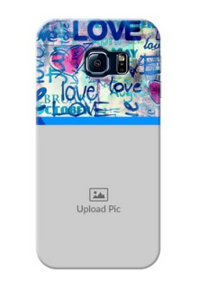 Samsung Galaxy S6 Edge Colourful Love Patterns Mobile Case Design