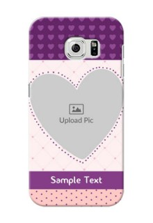 Samsung Galaxy S6 Violet Dots Love Shape Mobile Cover Design