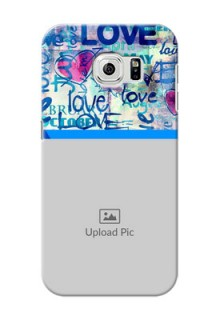 Samsung Galaxy S6 Colourful Love Patterns Mobile Case Design