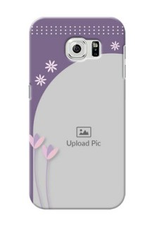Samsung Galaxy S6 lavender background with flower sprinkles Design