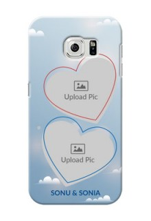 Samsung Galaxy S6 couple heart frames with sky backdrop Design