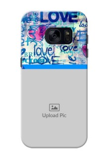 Samsung Galaxy S7 Colourful Love Patterns Mobile Case Design