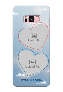 Samsung Galaxy S8 Plus couple heart frames with sky backdrop Design