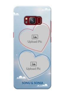 samsung Galaxy S8 couple heart frames with sky backdrop Design