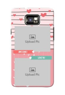 Samsung I9100 Galaxy S II Plus 2 image holder with hearts Design