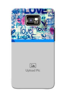 Samsung I9100 Galaxy S II Colourful Love Patterns Mobile Case Design