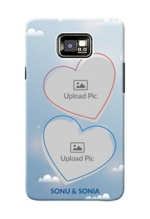 Samsung I9100 Galaxy S II couple heart frames with sky backdrop Design