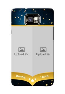 Samsung I9100 Galaxy S II 2 image holder with galaxy backdrop and stars  Design