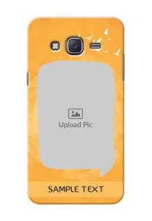 Samsung J5 (2015) watercolour design with bird icons and sample text Design Design