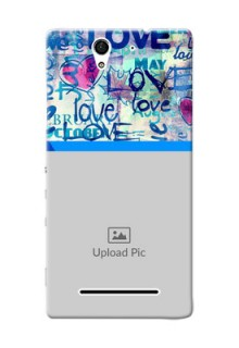 Sony Xperia C3 Colourful Love Patterns Mobile Case Design