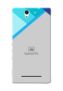 Sony Xperia C3 Blue Abstract Mobile Cover Design