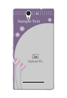 Sony Xperia C3 lavender background with flower sprinkles Design