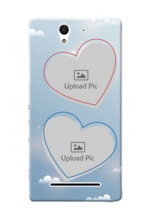 Sony Xperia C3 couple heart frames with sky backdrop Design
