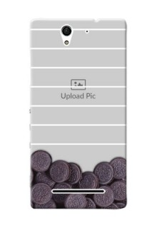 Sony Xperia C3 oreo biscuit pattern with white stripes Design Design