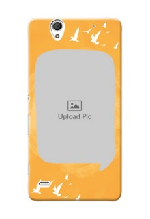 Sony Xperia C4 watercolour design with bird icons and sample text Design Design