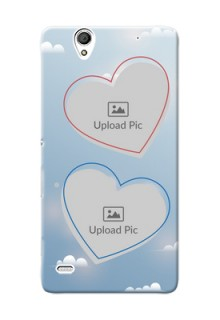 Sony Xperia C4 couple heart frames with sky backdrop Design