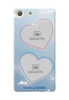 Sony Xperia M5 Dual couple heart frames with sky backdrop Design