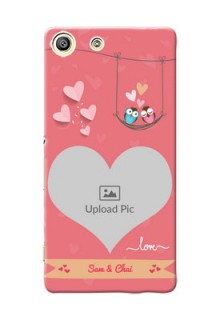 Sony Xperia M5 Dual heart frame with love birds Design