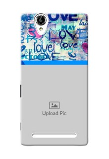 Sony Xperia T2 Colourful Love Patterns Mobile Case Design