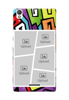Sony Xperia T3 5 image holder with stylish graffiti pattern Design