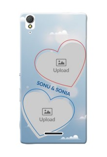 Sony Xperia T3 couple heart frames with sky backdrop Design