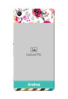 Sony Xperia Z3 watercolour floral design with retro lines pattern Design