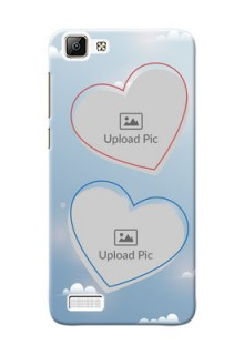 Vivo V1 couple heart frames with sky backdrop Design