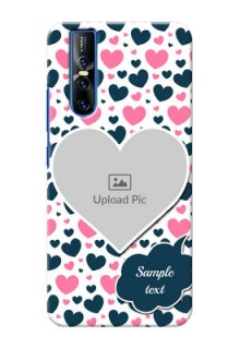 Vivo V15 Pro Mobile Covers Online: Pink & Blue Heart Design