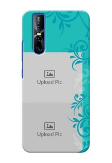 Vivo V15 Pro Mobile Cases with Photo and Green Floral Design