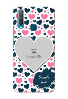 Vivo Y12 Mobile Covers Online: Pink & Blue Heart Design
