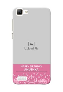 Vivo Y35 plain birthday line arts Design Design