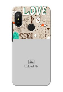 Mi A2 Lite Personalised mobile covers: Love Doodle Pattern