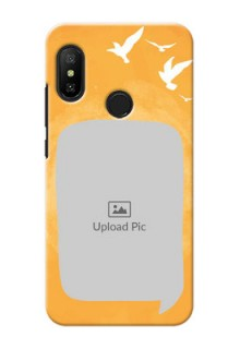Mi A2 Lite Phone Covers: Water Color Design with Bird Icons